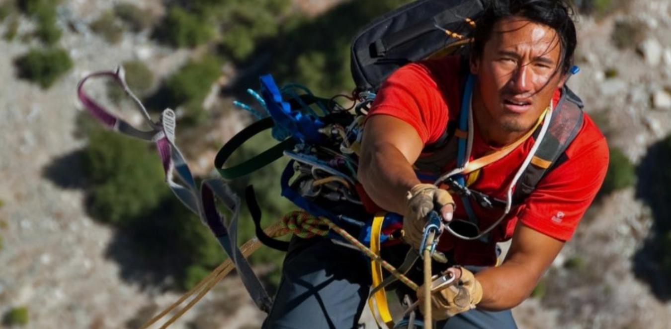 Adventurer Jimmy Chin climbing at Yosemite