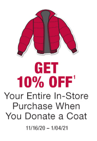 Get 10% off your next purchase when you donate a coat