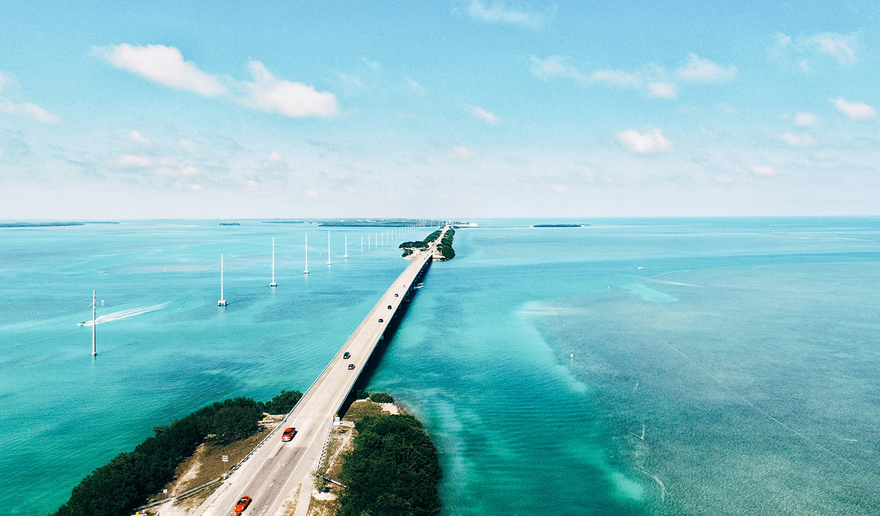 The 113-mile long Overseas Highway in the Florida Keys is worth the drive.