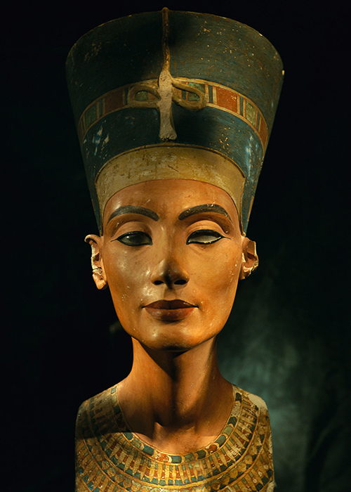 Bust of Egyptian Queen Nefertiti. Cairo, Egypt.