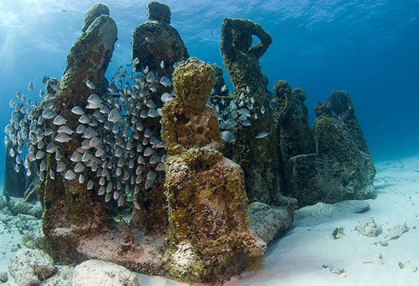 The Cancun Underwater Museum, pictured here, already welcomes visitors. Scuba divers will find a new museum off the coast of Grayton Beach in Florida, which opened in summer 2018.