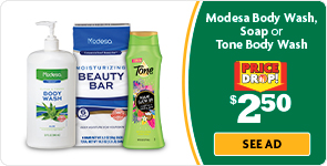 Modesa or Tone Body Wash $2.50 Price Drop